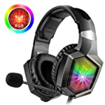 WillNorn K8 Stereo Gaming Headset for PC,PS4,Xbox One,Noise Cancelling Headphones for Mac,Laptop,Nintendo Switch-RGB LED...