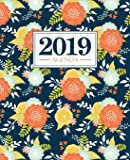 Agenda 2019: 19x23cm : Agenda 2019 semainier français : fleurs bleues et orange 6088