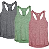 icyzone Workout Running Tank Top for Women - Racerback Yoga Tops Exercise Gym Shirts 3-Pack