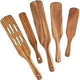 Spatule en bois pour la cuisine, NAYAHOSE Spurtles Set Ustensiles de cuisine en bois de teck naturel Outils antiadhésifs, paq
