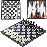 CRMICL Ensemble d'échecs magnétiques de Voyage de, Jeu d'échecs de 3-en-1 Backgammon Ensemble d'échecs magnétique de Jeu de Backgammon pour Les Adultes Jeu d'échecs portatif Pliant 12.6 '' x 12.6 ''