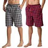 Men's Pyjamas Bottoms 2 Pack Cotton Checked Lounge Shorts with Pockets Comfy Pjs Trousers Nightwear