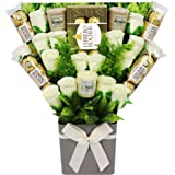 The Yankee Candle Selection Bouquet Gift Hamper with Ferrero Rocher Chocolates & Silk Ivory Roses