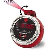 Metronic 477024 Cherry Radio réveil FM USB projection double alarme avec fonctions sleep/snooze et piles de sauvegarde de l'h