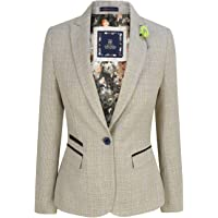 House Of Cavani Women Tweed Herringbone Cream Black Tailored Fit Blinders Classic Blazer
