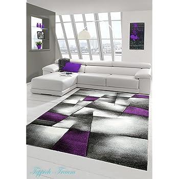 Designer Teppich Moderner Teppich Wohnzimmer Teppich Kurzflor Teppich Mit  Konturenschnitt Karo Muster Lila Grau Weiss Schwarz