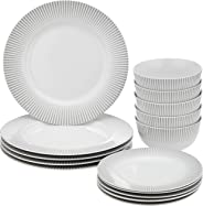 Amazon Brand - Solimo 15 Piece Dinnerware Set (Line Design)