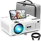 Projecteur AK-80 QK K Supporte 1080P Full HD, 6000 Lumens Mini Rétroprojecteur, HD Projecteur Vidéo Compatible TV Stick Smart