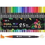 Pennarelli a doppio pennello, ZSCM 25 colori Pennarello fine Pennarelli da colorare per bambini Libri da colorare per adulti