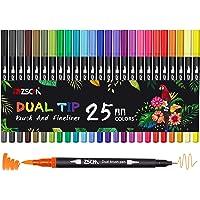 Pennarelli a doppio pennello, ZSCM 25 colori Pennarello fine Pennarelli da colorare per bambini Libri da colorare per…