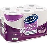Nicky - Ultrasoft Extra Suave - Papel higiénico - 12 rollos (Papel WC)