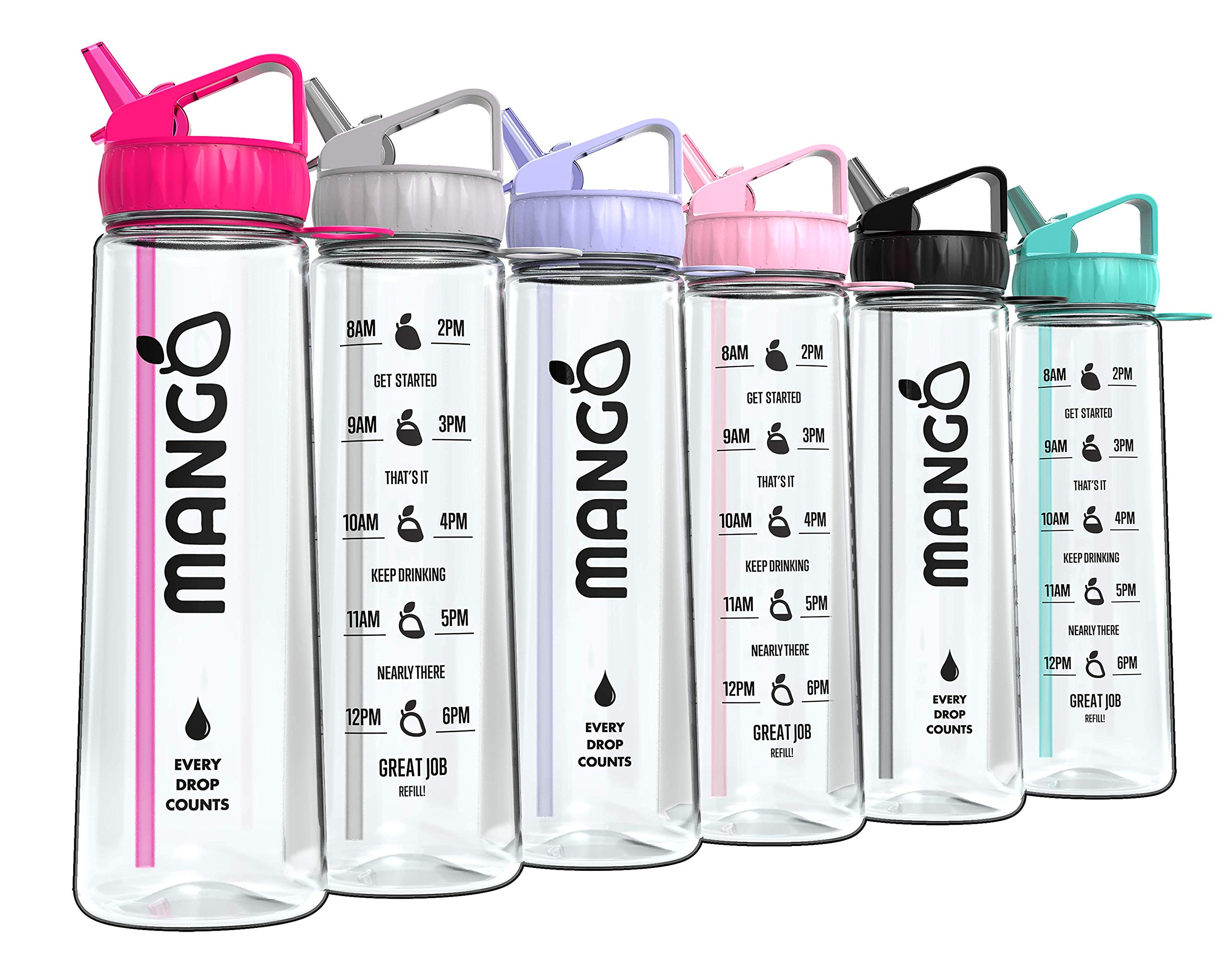 Mango Motivational Water Bottle With Straw and Times To drink [900ml/32oz] - BPA Free With Flip Nozzle and Leakproof cap [9 Colours] 2