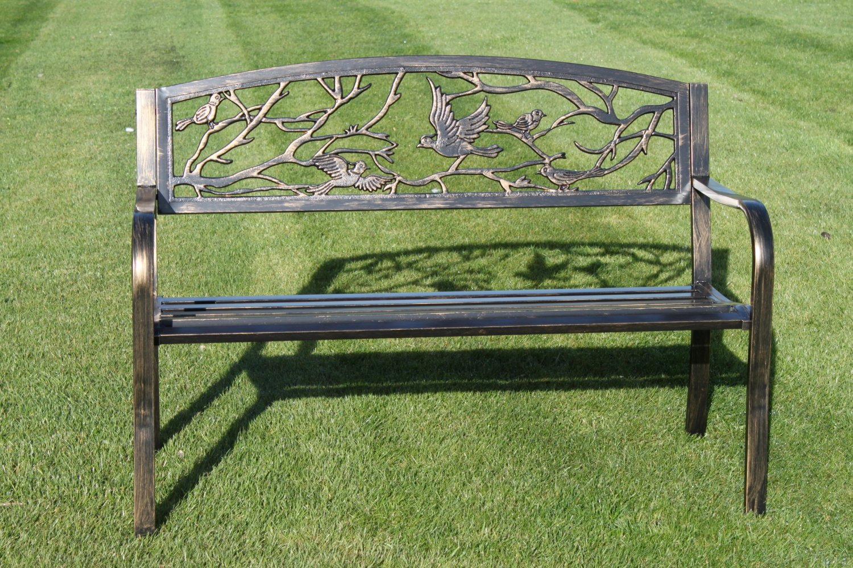 Panchine Da Giardino In Ghisa : Olive grove panchina da giardino in metallo con uccelli in ghisa