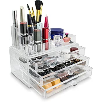 kosmetik schmuck organizer 4 schubladen transparent 24 x 19 x 14 cm box aufbewahrung. Black Bedroom Furniture Sets. Home Design Ideas