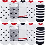 Chalier Lot de 10 paires de chaussettes en coton pour femme - Motif cœur - Multicolore