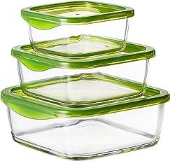 Luminarc Temp Keep 'N' Square Glass Box Set, 3-Pieces, Green