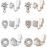 Yadoca 6 paia di orecchini a clip per donna con zirconi cubici orecchino senza foro rotondo quadrato orecchini a clip set di