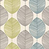 Arthouse Retro Bold Leaf Teal Green Wallpaper for Living Spaces & Feature Walls, 53 cm x 10.05 m Roll, 408207