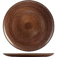 H&H 41040 Glam Bronze Lot de 6 Assiettes Plates, Verre, 28,5 cm