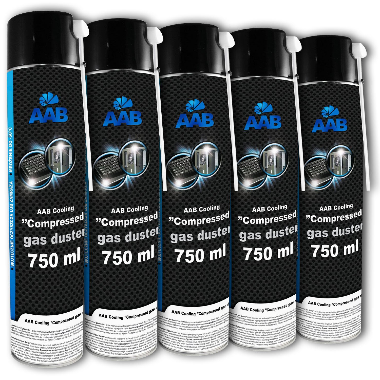 AAB Cooling Compressed Gas Duster | Aria Compressa | Spray 750ml (5x750ml)