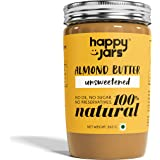 Happy Jars Unsweetened Almond Butter (265g), 5g Protein/serving, 100% Pure Almonds, Vegan, Keto, No Sugar