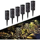 FLOWood Lampade Solari da Giardino, Luce con Paralume Impermeabile IP65, Lampada Solare per Esterno con Picchetto in Plastric