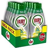 Fairy Platinum Gel Detersivo per Lavastoviglie Limone, 384 Lavaggi, Maxi Formato da 12 x 32 Lavaggi, 100% Dissoluzione e una