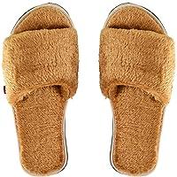 MF Women's Fur Slippers Indoor House or Outdoor Open Toe Slip on Home Latest Fashion Soft Plush Fleece Slides