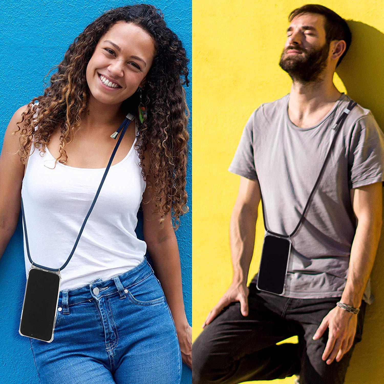 ZhuoFan Funda con Cuerda para Xiaomi Redmi Note 7//7 Pro Carcasa de Silicona Suave Case con Colgante Cordon Colgar Correa de Cuello para el tel/éfono Antichoque Bumper para M/óvil 6.3-Negro