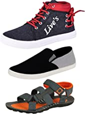 Tempo Men's Multicolor Combo Pack of Casual Shoes & Sandals