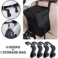 KURTZY Car Backseat Head Rest Hook/Hanger & Leak Proof Car Trash Garbage Bin (Storage Bag + 4 Hooks)