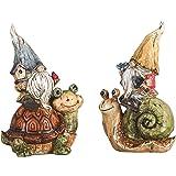 TERESA'S COLLECTIONS 2pcs Nain de Jardin Drôle sur Escargots et Tortues Figurines Résistantes aux Intempéries pour l'extérieu