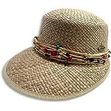 ONE & ONE HAT'S Sombrero Visera De Paja para Mujer con Cinta De Piedras Coloridas