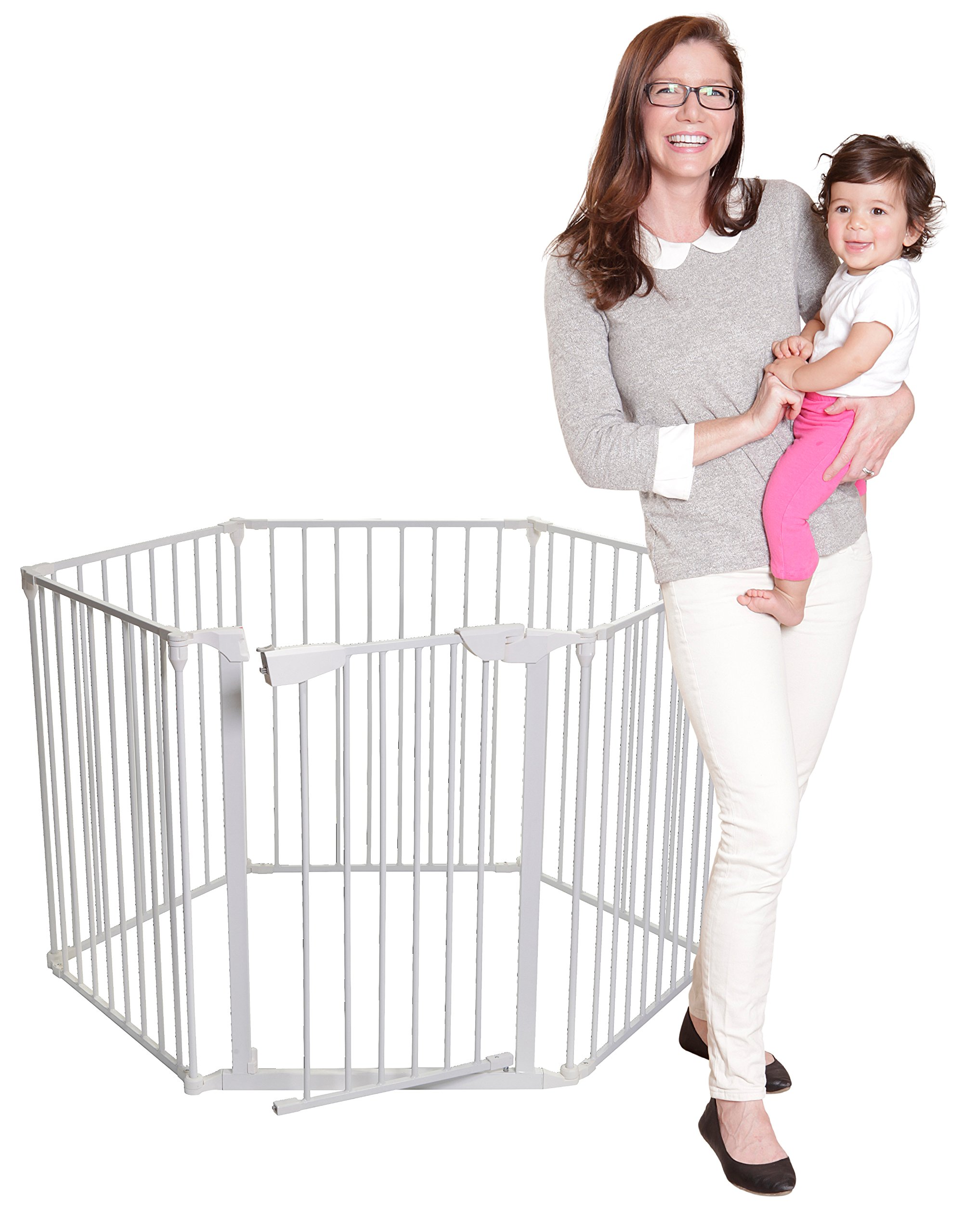 Dreambaby Mayfair Converta 3-in-1 Metal Play-Pen (85.5 - 375 cm) Dreambaby 6 modular panels including convient walk-through Gate 3-in-1 (play-pen, fireplace barrier, wide barrier Gate) Smart stey-open feature and optional one way stopper 2