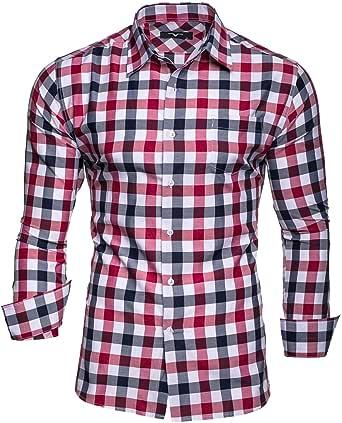 Kayhan Originale Uomo Camicia Slim Fit Facile Stiro Cotone Maniche Lungo S M L XL XXL 2XL -Modello Quadri
