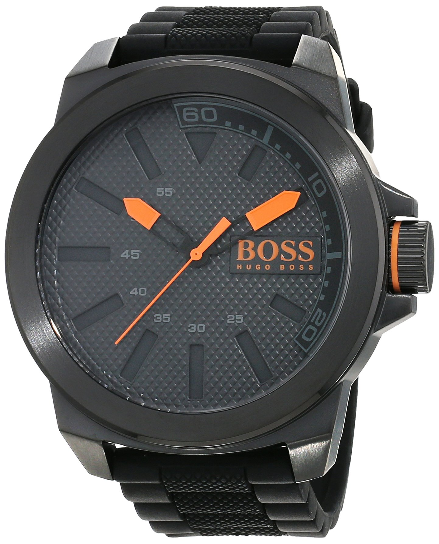Hugo Boss Orange New York Herren-Armbanduhr Quartz mit schwarzem Silikon Armband 1513004