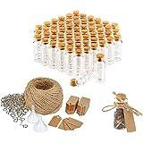 COM-FOUR® 60x glazen flesjes ideaal geschenk voor een bruiloft of verjaardag, accessoires voor bruiloft, thee, kruiden, zaden