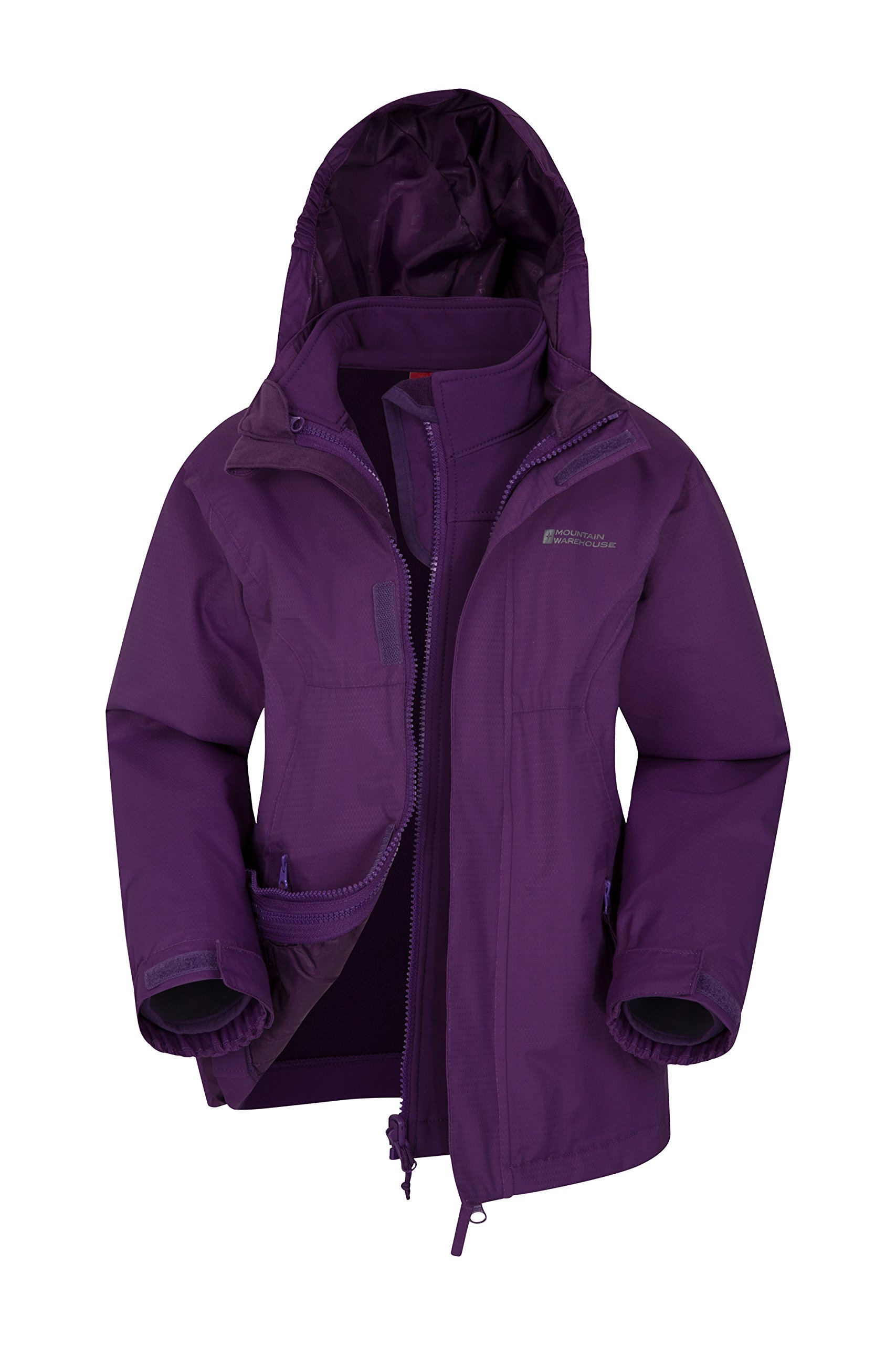 Mountain Warehouse Bracken Extreme Kids 3 in 1 Jackets - Waterproof Boys & Girls Rain Jacket, Breathable, Taped Seams, Mesh Lined Kids Coat - for Winter Travelling