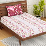 Spaces Atrium Floral Light Pink 1 Single Bedsheet with 1 Pillow Cover (Strawberry)