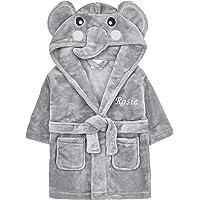 Baby Girl Boy Personalised Dressing Gown Bathrobe Hooded Elephant
