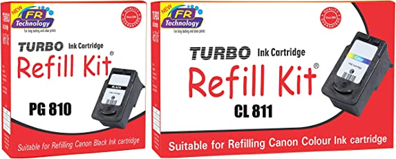 Canon Pixma PG 810 Black and CL 811 Color Ink Cartridge Refill, Combo Pack by Turbo