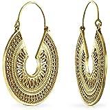 Boho Bali Stile tribale Filigree Crescent rotondo piatto sagomato grandi orecchini Hoop per le donne oro placcato metallo
