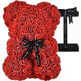AZXU Ours en rose – ours en peluche à rose sur chaque ours – parfait pour un anniversaire ou une mère – Boîte cadeau transpar