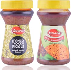 Vasana Mango thokku Pickle and Vathal Kulambu Paste, 300 grams (Combo of 2)