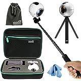 EEEKit All in 1 Kit für Samsung Gear 360 Grad Kugelkamera, Shockproof Schutzhülle, Selfie Stick Monopod, Mini Stativ Stand Mount