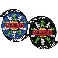 Bellter - Set di 2 spille in metallo, smaltate dure con messaggio di solidarietà: Doing my Part/Vaccinated against Covid…