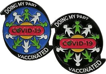 Set di 2 spille in metallo di qualità, spilla smaltata dura con messaggio di solidarietà: Doing My Part/Vaccinated Against Covid-19, accessorio, diametro 3,18 cm