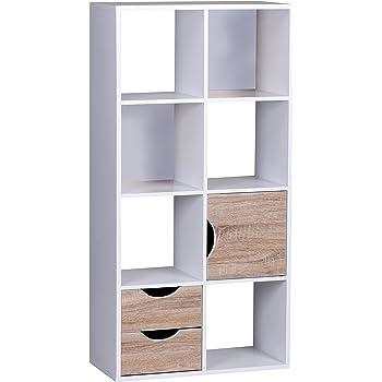 finebuy design b cherregal modern holz wei mit t ren geschlossen sonoma eiche standregal. Black Bedroom Furniture Sets. Home Design Ideas