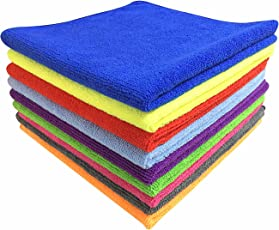 Softspun Microfiber Multi Purpose Towel & Cleaning Cloth - 40X40Cm - Pack of 5 - Multi-Color