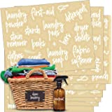 Talented Kitchen 141 Laundry Room & Linens Closet Organization Labels. Script, Preprinted Stickers. Clear, Water Resistant La